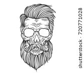 bearded skull illustration | Shutterstock .eps vector #720771028