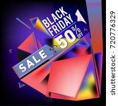 black friday sale poster. 3d... | Shutterstock .eps vector #720776329