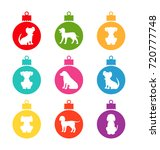 colorful christmas balls with... | Shutterstock .eps vector #720777748
