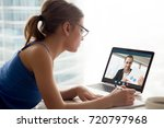 woman in glasses watching... | Shutterstock . vector #720797968