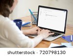 business lady in office types...   Shutterstock . vector #720798130