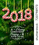 new year 2018 in shape of candy ... | Shutterstock .eps vector #720798973