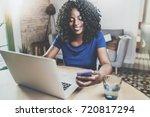 happy african american woman... | Shutterstock . vector #720817294