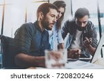 group of coworkers sitting at...   Shutterstock . vector #720820246