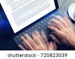 closeup view of male hands...   Shutterstock . vector #720823039
