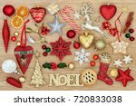 christmas symbols with noel... | Shutterstock . vector #720833038