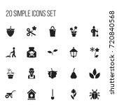 set of 20 editable gardening...