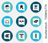 set of 9 editable science icons.... | Shutterstock .eps vector #720841774
