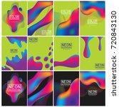 neon liquid color splash cover... | Shutterstock .eps vector #720843130