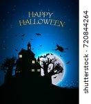happy halloween template with... | Shutterstock .eps vector #720844264