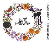 happy halloween. lettering.... | Shutterstock .eps vector #720859090