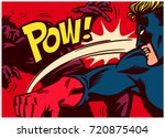 Pop art comic book style panel with superhero fighting, throwing punch and beating super villain vector poster wall decoration illustration | Shutterstock vector #720875404