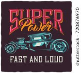 t shirt or poster design with... | Shutterstock .eps vector #720876970