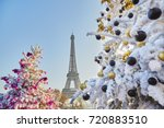 decorated christmas trees... | Shutterstock . vector #720883510