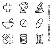 pharmacy icons freehand | Shutterstock .eps vector #720888406