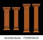 four vector flat orange antique ... | Shutterstock .eps vector #720893413