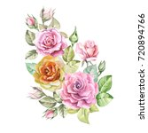 roses composition.watercolor | Shutterstock . vector #720894766