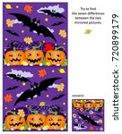 halloween themed visual puzzle  ... | Shutterstock . vector #720899179