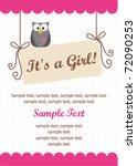 it's a girl invitation card | Shutterstock .eps vector #72090253