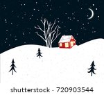 night winter scene with small... | Shutterstock .eps vector #720903544