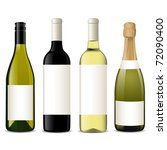 vector wine bottles | Shutterstock .eps vector #72090400