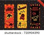 set of halloween tickets cards... | Shutterstock .eps vector #720904390