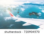 Air Plane Wing Over Sea For...