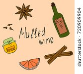 mulled wine with grapefruit... | Shutterstock .eps vector #720909904