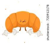 cute croissant athlete ... | Shutterstock .eps vector #720912178