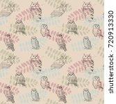 seamless pattern in retro style ...   Shutterstock .eps vector #720913330