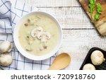 mushroom cream soup on white... | Shutterstock . vector #720918760