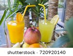 fresh natural lemonade and... | Shutterstock . vector #720920140