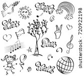 hand drawn symbols of peace.... | Shutterstock .eps vector #720922198