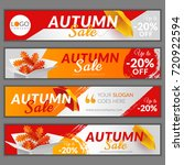 set with autumn sale banners.... | Shutterstock .eps vector #720922594