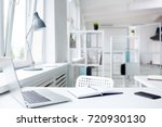 modern workplace with laptop...   Shutterstock . vector #720930130
