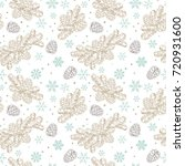 seamless pattern christmas tree ... | Shutterstock .eps vector #720931600