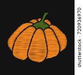 pumpkin. embroidery on dark... | Shutterstock .eps vector #720936970