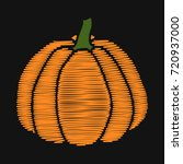 pumpkin. embroidery on dark... | Shutterstock .eps vector #720937000