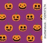 seamless halloween pattern... | Shutterstock .eps vector #720937174