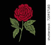 red rose embroidery artwork... | Shutterstock .eps vector #720937183
