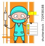 cartoon surgeon with syringe... | Shutterstock .eps vector #720938188