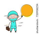 cartoon surgeon showing speech... | Shutterstock .eps vector #720938254