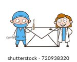 cartoon male and female doctor... | Shutterstock .eps vector #720938320