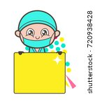 cartoon surgeon holding a ad... | Shutterstock .eps vector #720938428