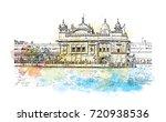 watercolor sketch of golden... | Shutterstock .eps vector #720938536