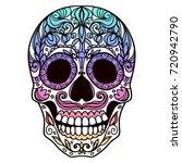 ornate sugar skull | Shutterstock .eps vector #720942790