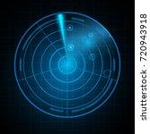 realistic digital radar in... | Shutterstock . vector #720943918