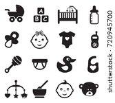 baby icons. black flat design.... | Shutterstock .eps vector #720945700