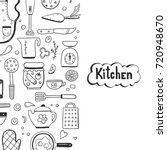 hand drawn doodle template with ... | Shutterstock .eps vector #720948670