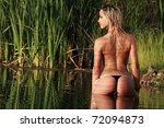 A Blonde Bikini Model Posing...